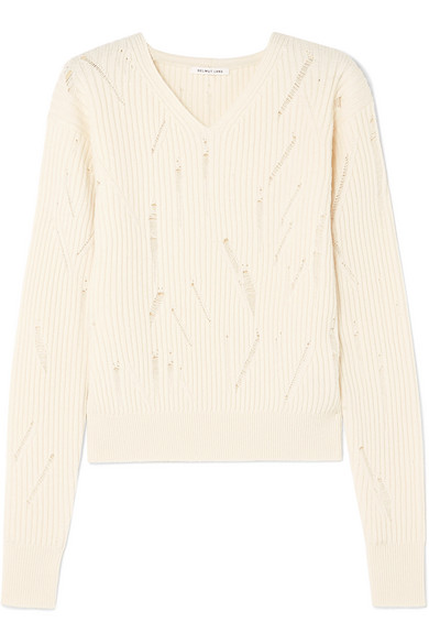 Helmut Lang Distressed Ribbed Wool Sweater In Ivory