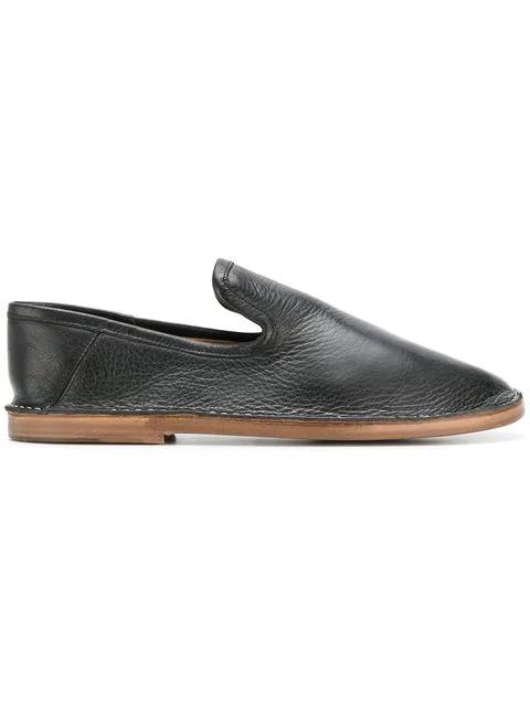 Joseph Leather Slip On Flats In Black