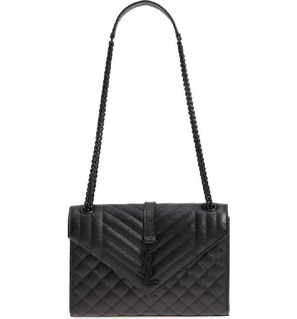 982ed0af77 Saint Laurent V Flap Monogram Ysl Medium Tri-Quilt Envelope Shoulder Bag W/  Tonal