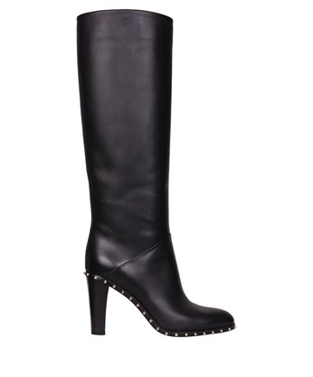 Valentino Garavani Soul Rockstud Leather Tall Boots In Black