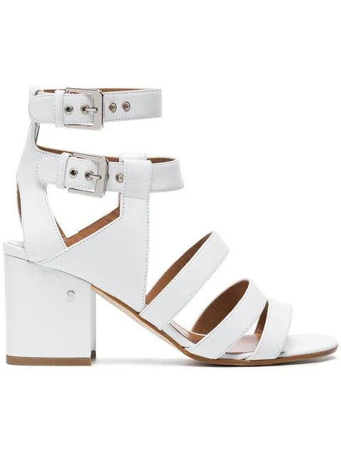 Laurence Dacade Rela Strappy Leather Block-Heel Sandals In Off White