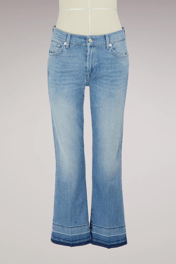 7 For All Mankind Mid-Rise Cropped Flared Jeans In Slip Illusion Breeze