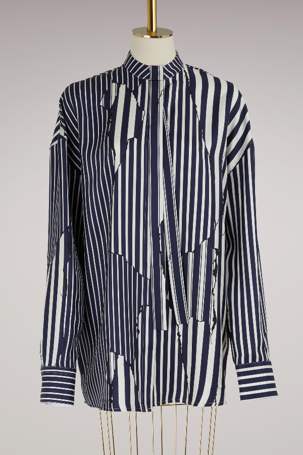 Haider Ackermann Striped Button-front Silk Blouse In Navy/white