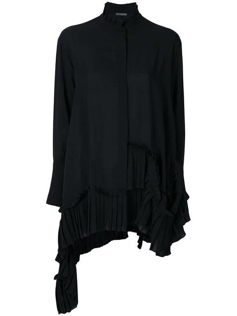 95b882b508d Alexander Mcqueen Long-Sleeve Silk Tunic Blouse W/ Asymmetric Pleated Hem  In Black