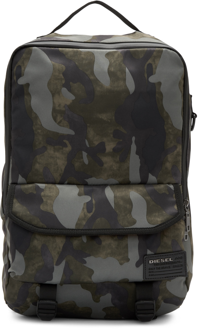 Diesel Green Camo F-close Backpack In H5254 Military Camou