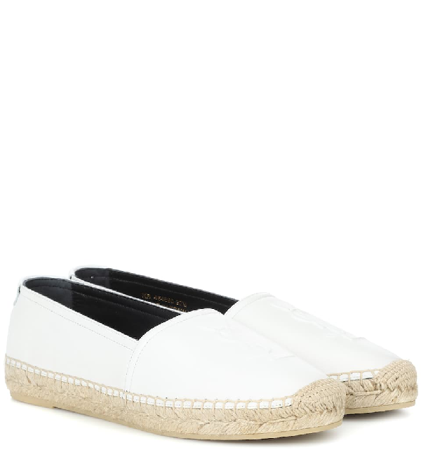 Saint Laurent Monogram Espadrilles In Lambskin In White