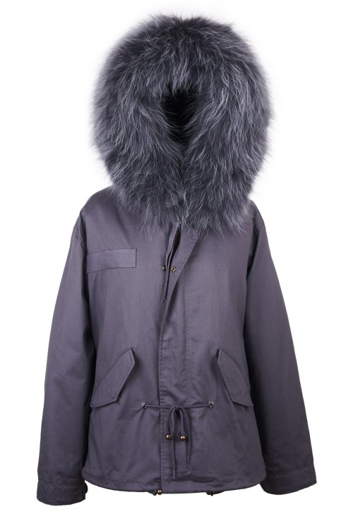 8aff9e88fdab Popski London Grey Parka Jacket With Matching Raccoon Fur Collar ...