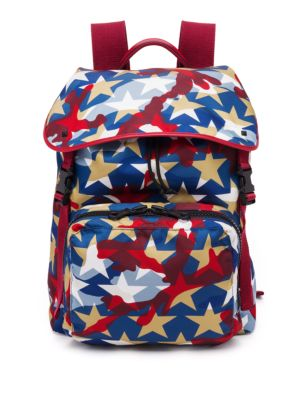 Valentino Garavani Deconstructed Nylon & Calf Leather Backpack In Blue-red