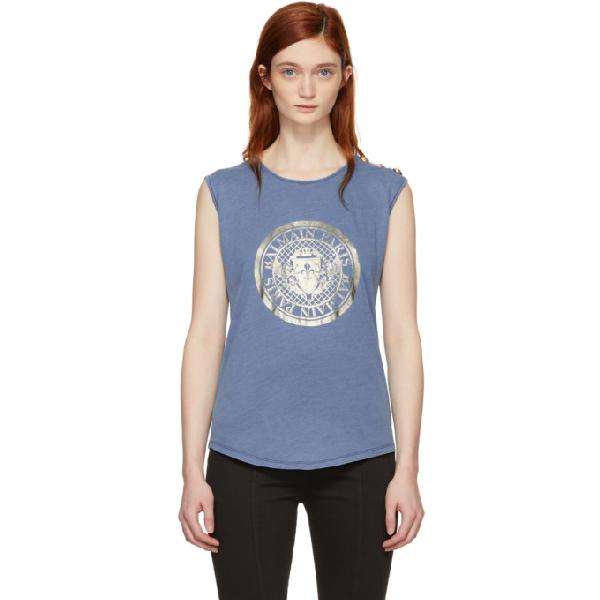 Balmain Coin Logo T-shirt In C5829 Bleu
