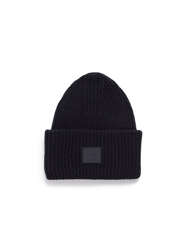 b98fdc34829 ACNE STUDIOS.  Pansy L Face  Emoticon Patch Wool Blend Beanie in Black