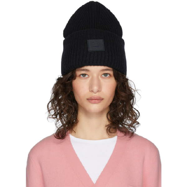 Acne Studios 'pansy L Face' Emoticon Patch Wool Blend Beanie In Black