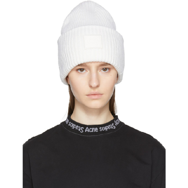 97fcde8d904 Acne Studios Pansy S Face Ribbed-Knit Beanie Hat In Natural Whi ...