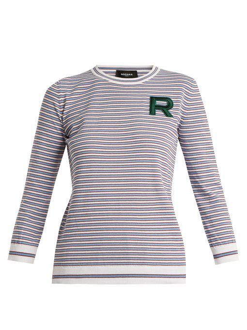Rochas Striped Crew-Neck Logo Knit Sweater In Blue Multi