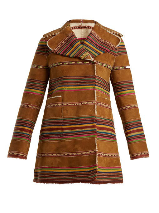 Valentino Reversible Double-Breasted Striped Shearling Coat In Beige Multi