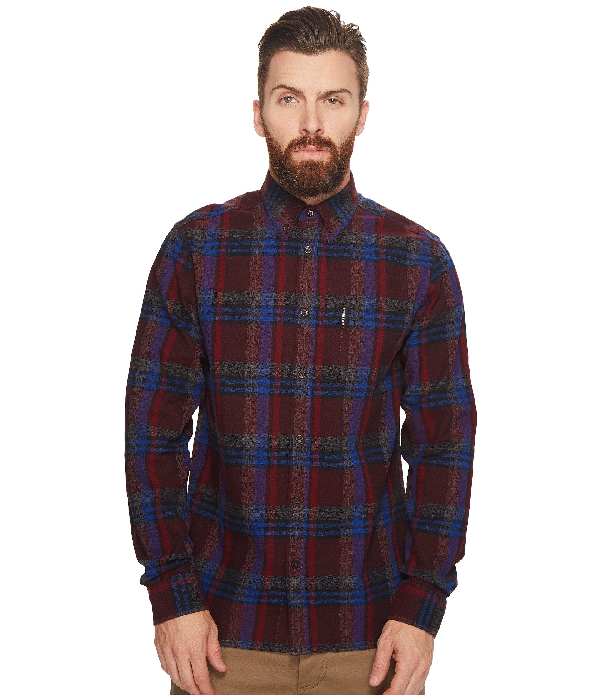 Ben Sherman Button-Front Brushed Crepe Check Shirt In Wine