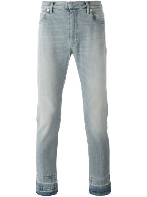 Maison Margiela Cotton Slim Jeans With Contrast Cuffs In Blue
