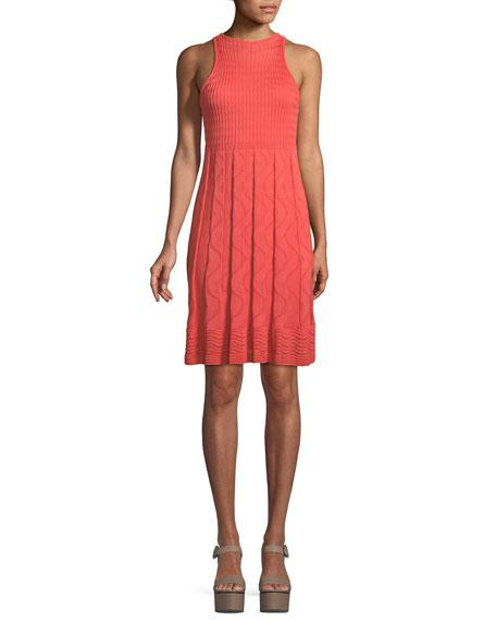 M Missoni Textured-Knit Sleeveless Dress In Coral