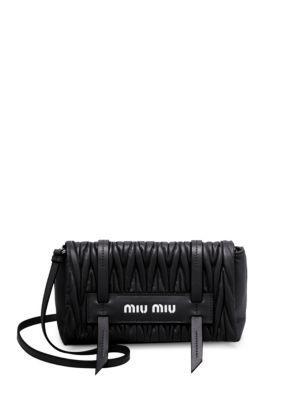 b4b07cb7d6c5 Miu Miu Matelasse Leather Convertible Clutch In Black
