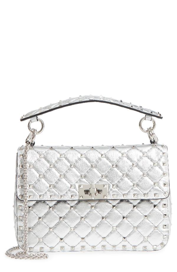c564f0f70e Valentino Medium Rockstud Spike Metallic Leather Shoulder Bag - Metallic In  Silver