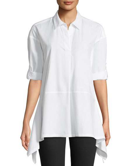 Dkny Button-Front Trapeze Top In White
