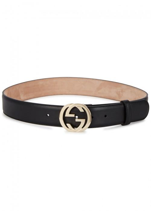 be6510e39e9 Gucci Gg Monogrammed Leather Belt In Black