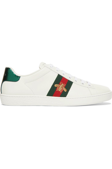 6796d6b809f Gucci Ace Watersnake-Trimmed Embroidered Leather Sneakers In White ...