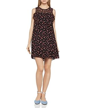 Bcbgeneration Floral-Print Ruffled Shift Dress In Red