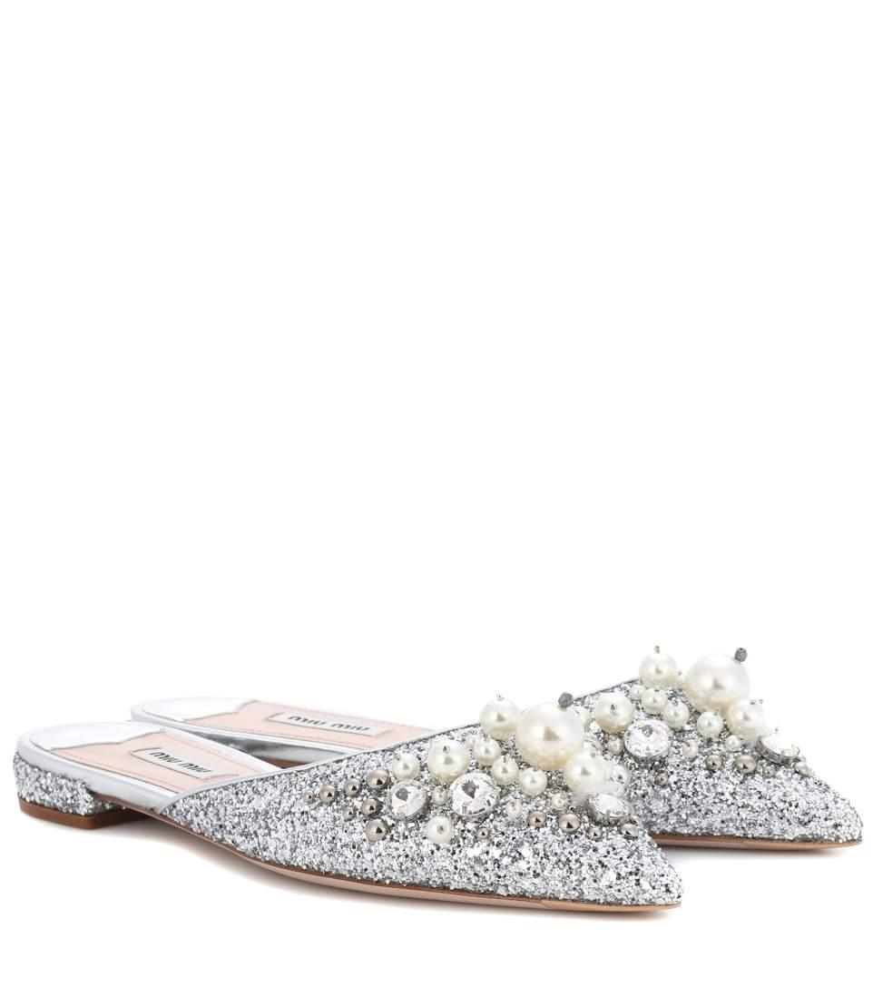 e02e764f15d6 Miu Miu Exclusive To Mytheresa.Com – Embellished Slippers In Silver ...