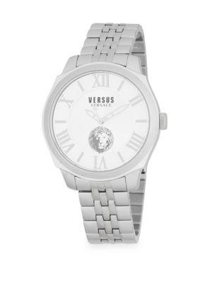 Versace Logo Water Resistant Stainless Steel Bracelet Watch In Silver