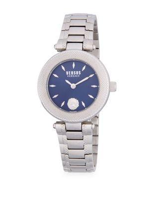 Versace Round Stainless Steel Bracelet Watch In Silver