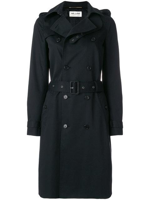 Saint Laurent Belted Trench Coat In Black