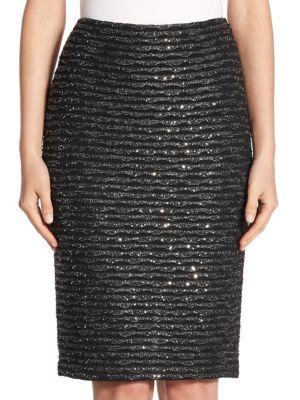 St. John Wave Tweed Pencil Skirt In Caviar