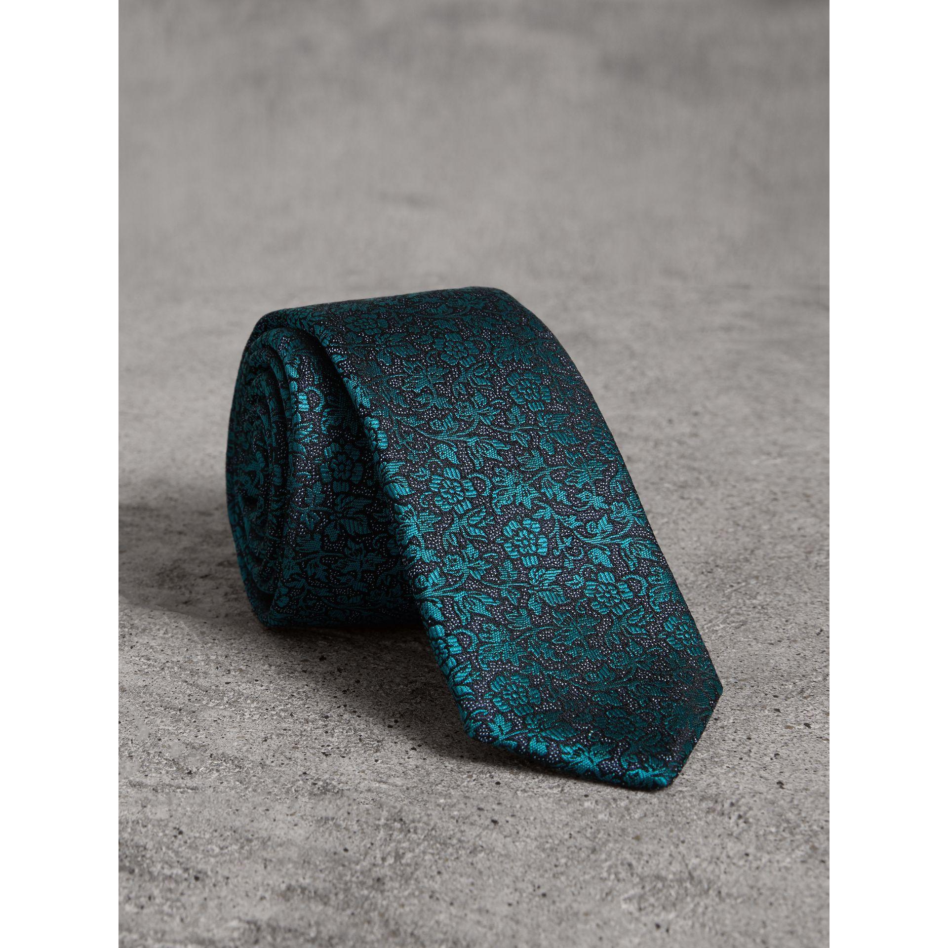 02ac7f4dd997 Burberry Slim Cut Floral Jacquard Silk Tie In Dark Teal   ModeSens