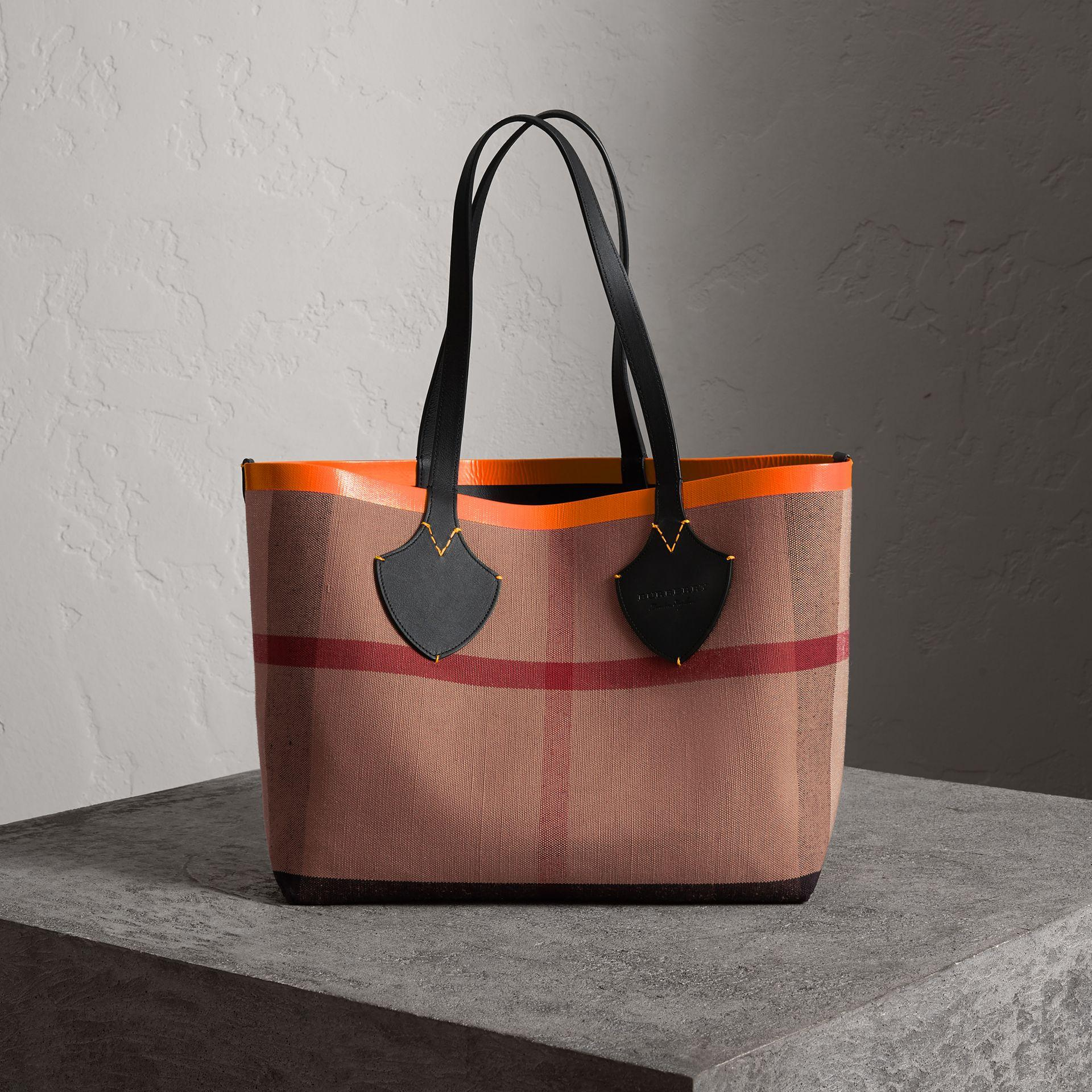 f774656ead6d Burberry The Medium Giant Reversible Tote In Canvas And Leather In  Black Neon Orange