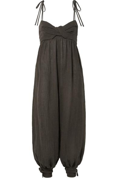 d3aecd9d6b7 Three Graces London Reed Tie-Embellished Crinkled Linen-Blend Jumpsuit In  Chocolate