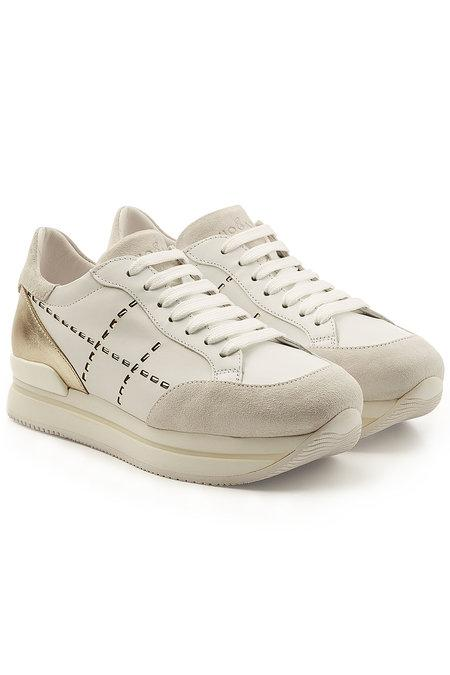 Hogan Nuovo Suede And Leather Platform Sneakers In White