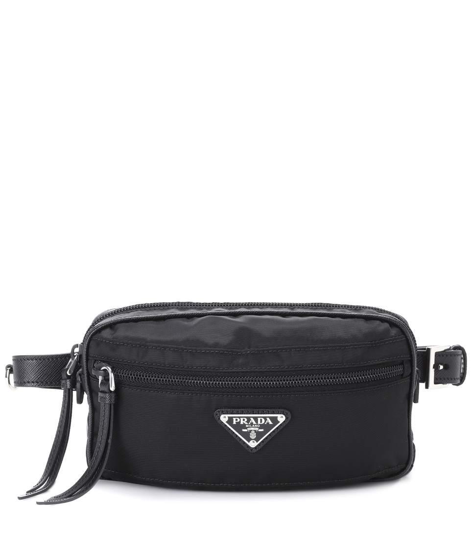 eb005b43b0f4 Prada Leather-Trimmed Belt Bag In Black | ModeSens