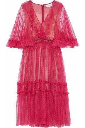 0f7f768d8ce3b Sachin & Babi Woman Ruffled Point D'Esprit Midi Dress Fuchsia   ModeSens