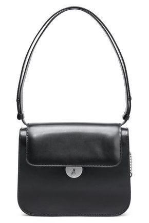 Maison Margiela Glossed-leather Shoulder Bag In Black