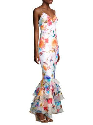 Milly Milan Floral Gown In Multi