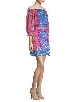 Saloni Grace Off-the-shoulder Floral-print Silk Mini Dress In Foxglove Meadow Placement