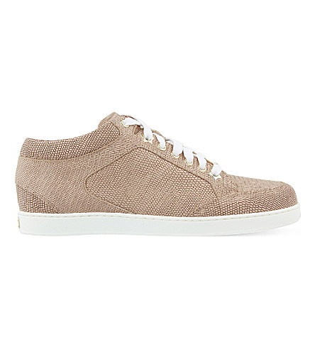 2947c280d5e2 Jimmy Choo Miami Leather And Fine Glitter Trainers In Nude | ModeSens