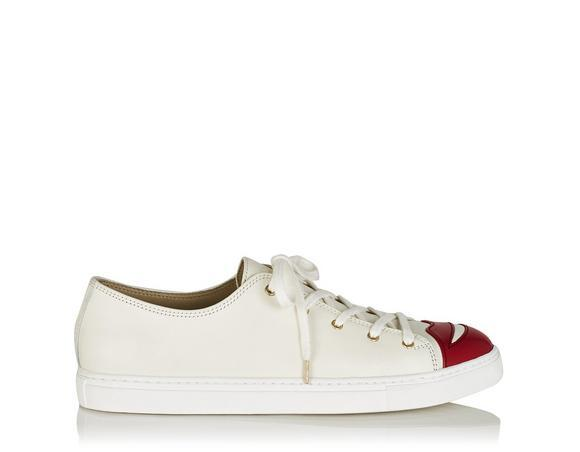 Charlotte Olympia Kiss Me Low-Top Leather Trainers In White Multi