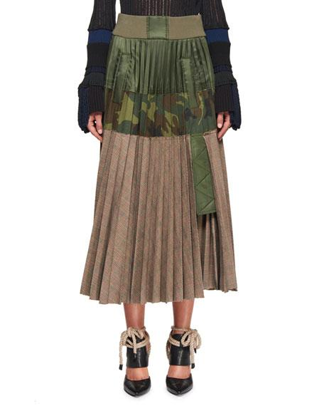 0b8deb2adc Sacai Pleated Shell And Printed Cotton-Blend Midi Skirt In Green Pattern