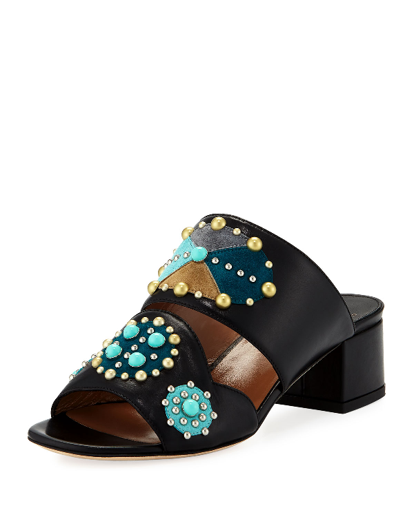 Laurence Dacade Relena Studded Leather Mule Sandal In Black
