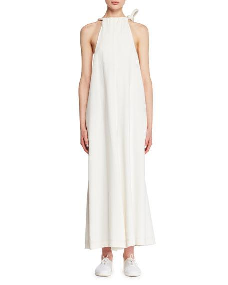The Row Japron Sleeveless Halter Wide-leg Stretch-cady Jumpsuit In Off White