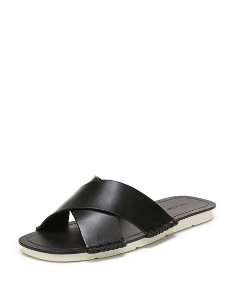 578154dce Vince Nico Flat Crisscross Slide Sandals In Black | ModeSens
