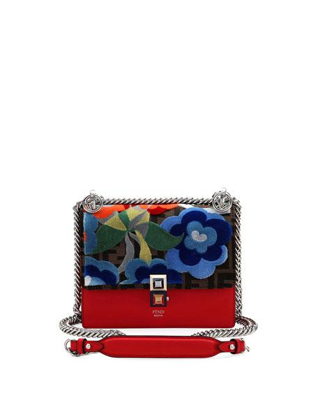91c9aec754 Fendi Small Kan I Embroidered Zucca Shoulder Bag In Red | ModeSens