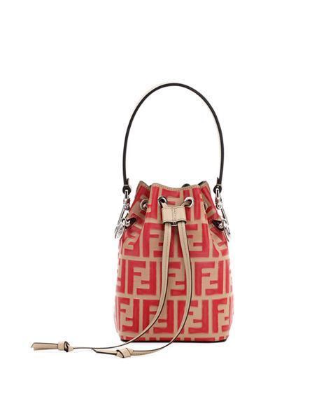 8451d945bd14 Fendi Mon Tresor Mini Logo Bucket Bag In Red Pattern