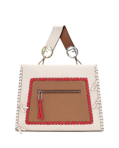 b3c321140748 Fendi Small Runaway Whipstitch Colorblock Leather Tote Bag In White ...